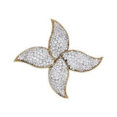 Star or Pinwheel Diamond, Platinum and 18 Karat Gold Brooch Pin