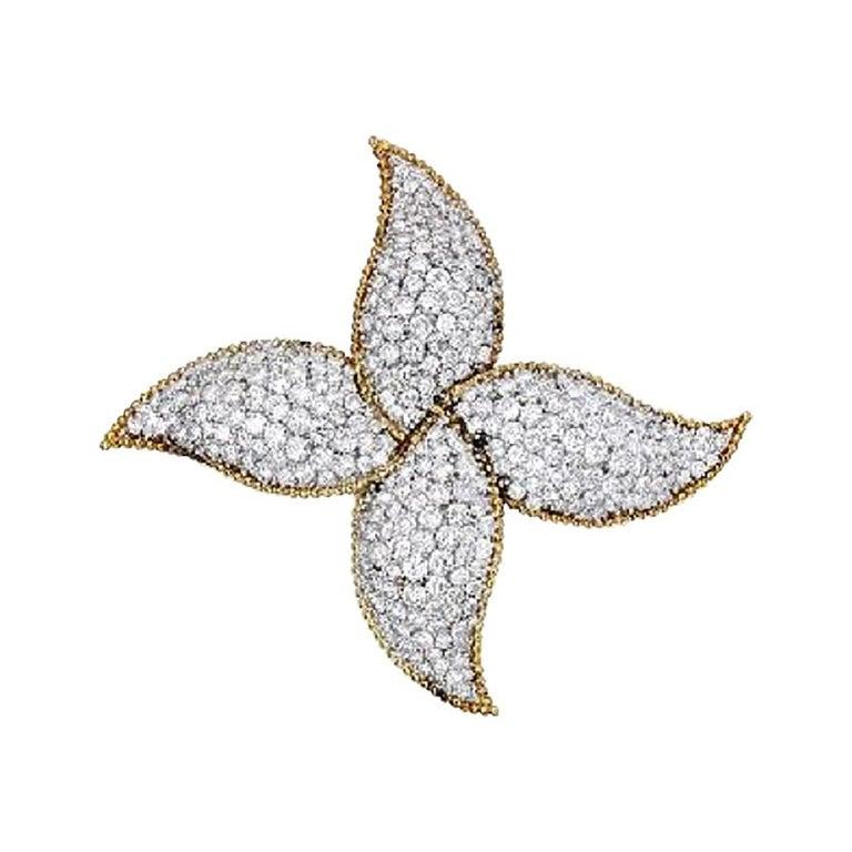 Star or Pinwheel Diamond, Platinum and 18 Karat Gold Brooch Pin For Sale