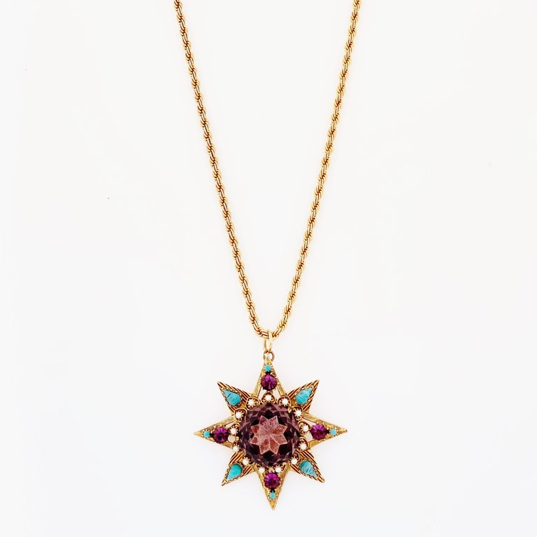 Modern Star Pendant Necklace With Amethyst Crystal and Turquoise By Florenza, 1960s For Sale