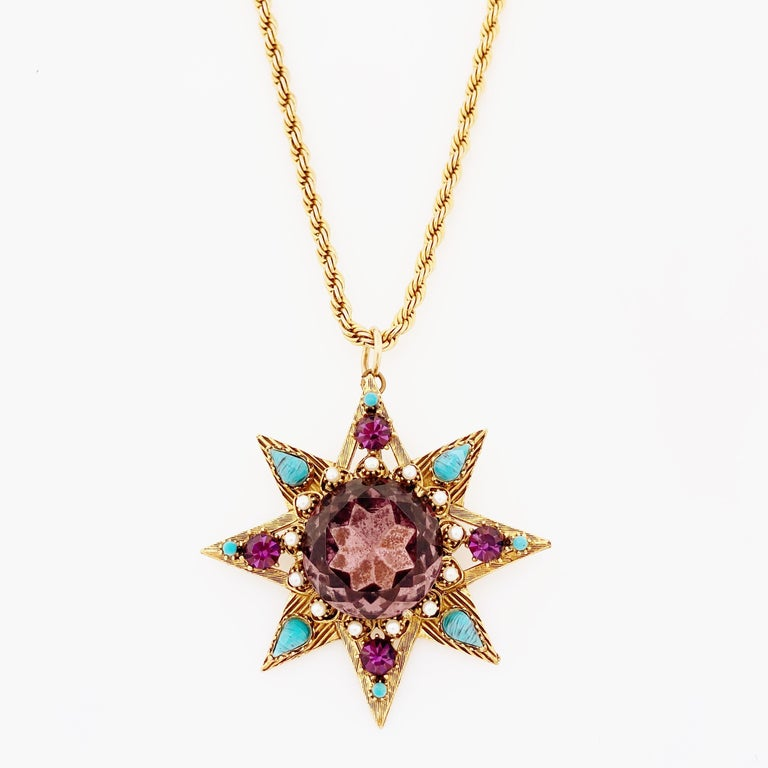 Star Pendant Necklace With Amethyst Crystal and Turquoise By Florenza, 1960s In Good Condition For Sale In Los Angeles, CA