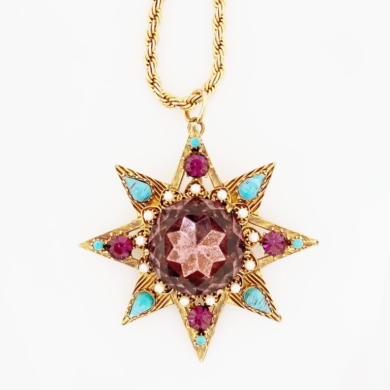 Women's Star Pendant Necklace With Amethyst Crystal and Turquoise By Florenza, 1960s For Sale