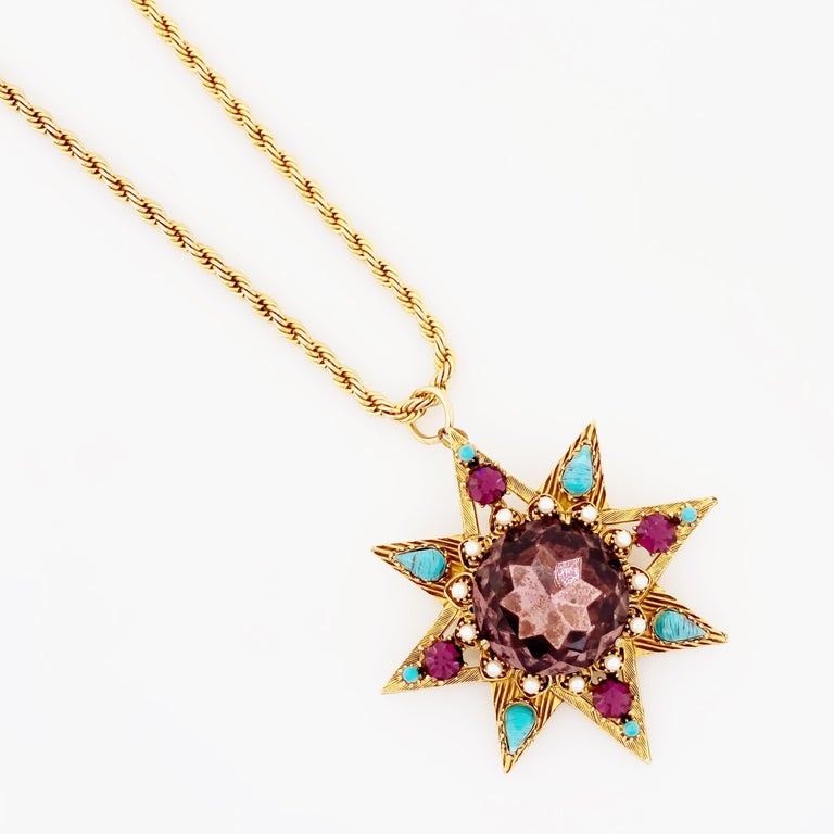 Star Pendant Necklace With Amethyst Crystal and Turquoise By Florenza, 1960s For Sale 1