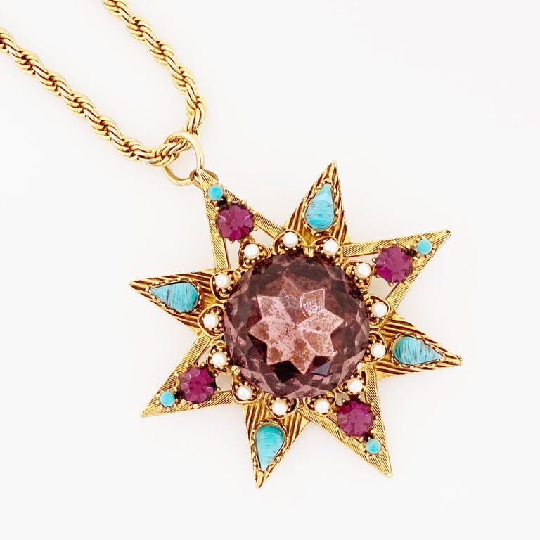 Star Pendant Necklace With Amethyst Crystal and Turquoise By Florenza, 1960s For Sale 2