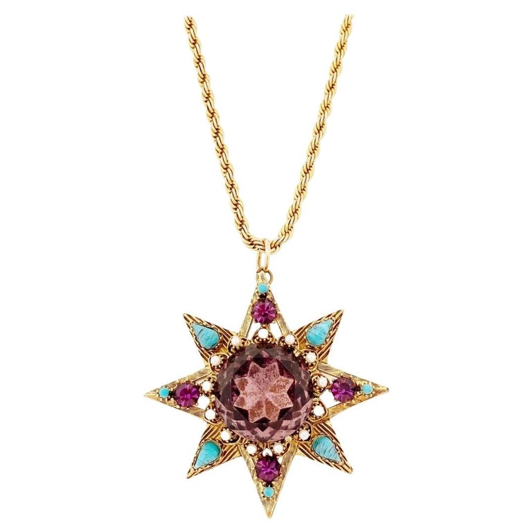 Star Pendant Necklace With Amethyst Crystal and Turquoise By Florenza, 1960s For Sale
