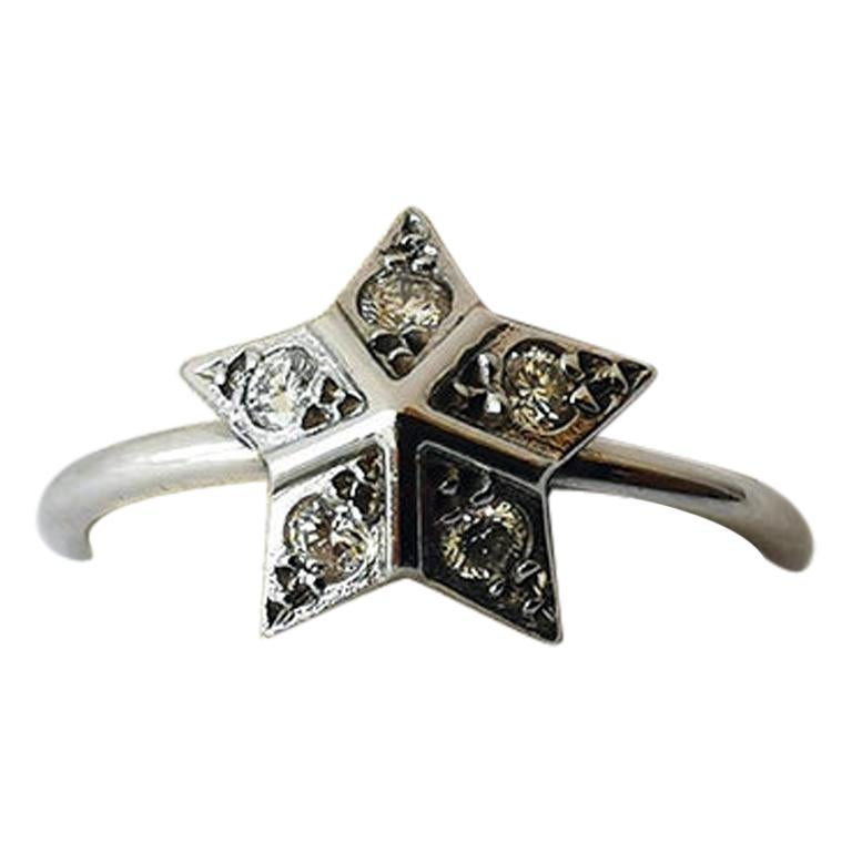 Star Ring in 18 Karat White Gold Set with Five Diamonds by Marion Jeantet