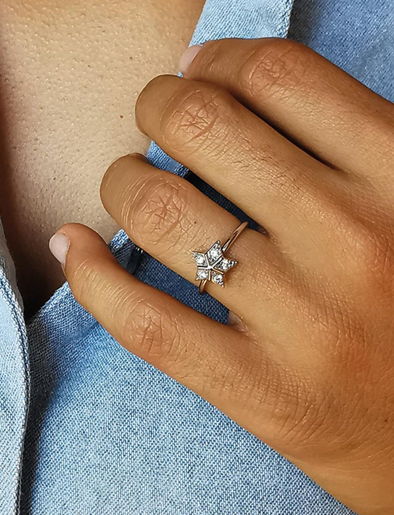 Round Cut Star Ring in 18 Karat White Gold Set with Five Diamonds by Marion Jeantet For Sale