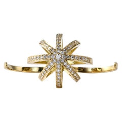 Star Ring in 18K Yellow Gold and White Diamonds Two Finger Gold and Diamond Ring