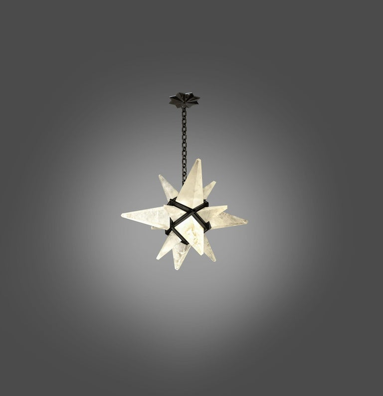 Contemporary Star Rock Crystal Chandelier by Phoenix For Sale