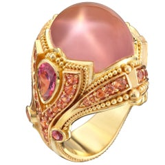Kent Raible Star Rose Quartz, Spinel and Sapphire 18 Karat Gold Cocktail Ring