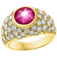 Star Round Cabochon Natural Ruby and 3.5 Carat Diamond 18 Karat Yellow Gold Ring