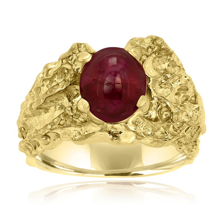 One of a Kind Stunning Star Ruby Cabochon 6.05 carat in 18K Yellow Gold Ring with raw gold and Matt finish look.