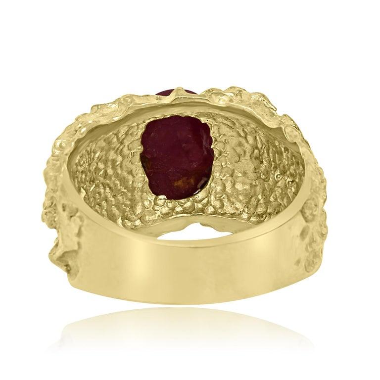 Star Ruby 6.05 Carat Matt Gold Finish Men Fashion Ring For Sale 1