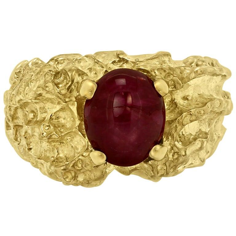 Star Ruby 6.05 Carat Matt Gold Finish Men Fashion Ring For Sale