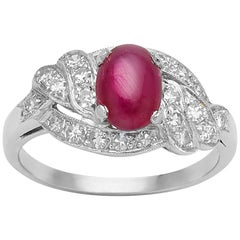 Star Ruby and Diamond Platinum Art Deco Ring