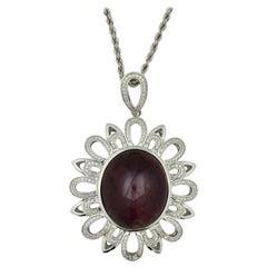 Star Ruby and Diamond Platinum Pendant Necklace