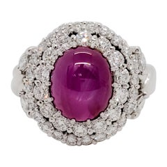 Star Ruby Cabochon Oval and White Diamond Cocktail Ring