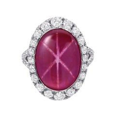 Star Ruby Diamond Platinum Ring Oval 9.91 Carat Unheated GIA Certified No Heat