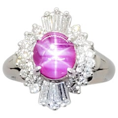 Star Ruby Oval Cabochon and White Diamond Cocktail Ring in Platinum