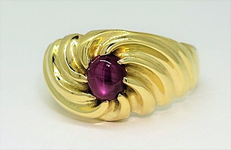 Modern Star Ruby Ring 18 Karat Yellow Gold