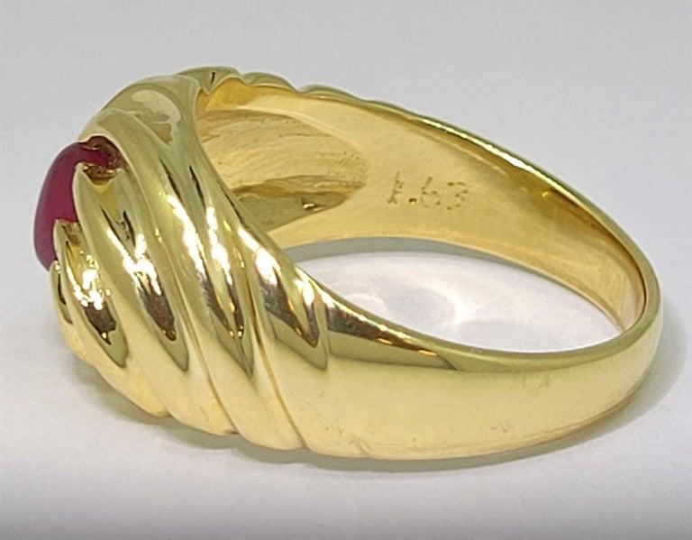 Women's or Men's Star Ruby Ring 18 Karat Yellow Gold