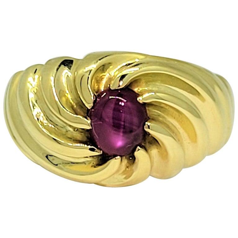 Star Ruby Ring 18 Karat Yellow Gold