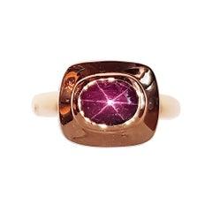 Star Ruby Ring Set in 18 Karat Rose Gold Settings