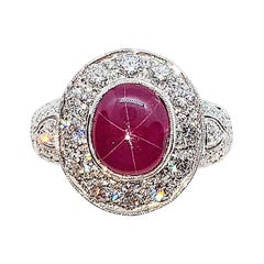 Star Ruby with Diamond Ring Set in 18 Karat White Gold Settings