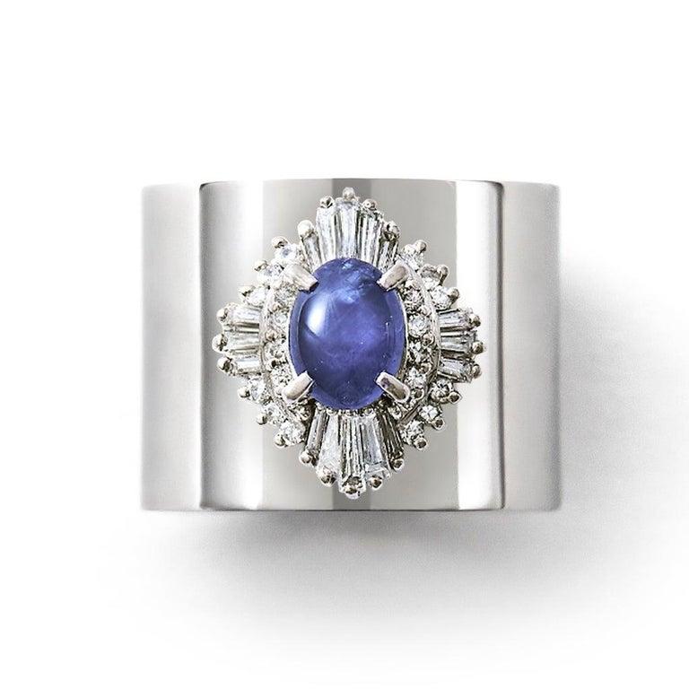 Star Sapphire 1.259 Carat Diamond 0.500 Carat Platinum Wide Band Ring In New Condition In Shibuya, Tokyo, JP
