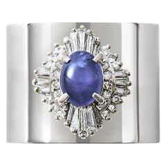 Star Sapphire 1.259 Carat Diamond 0.500 Carat Platinum Wide Band Ring