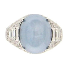 Star Sapphire 18 Karat White Gold Diamonds Cocktail Ring