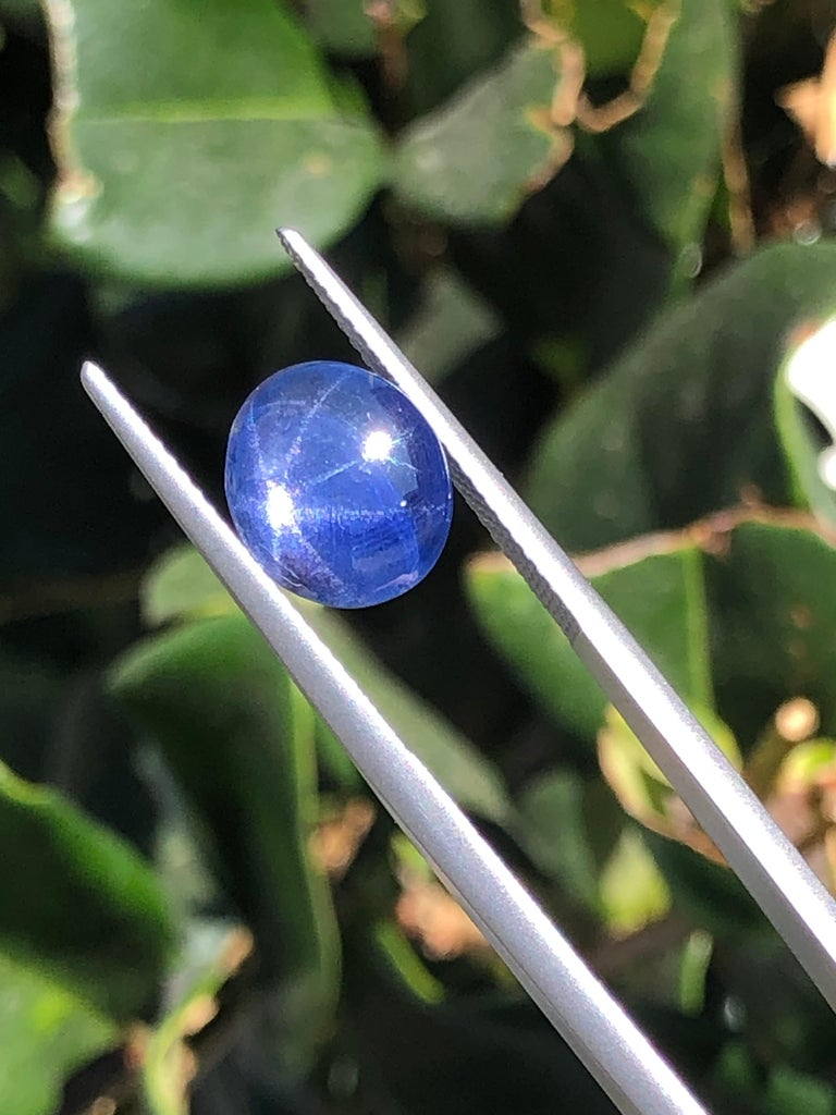Star Sapphire Ring Gem 4.19 Carat No Heat In New Condition For Sale In Beverly Hills, CA