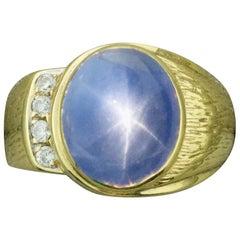 Star Sapphire and Diamond Pinky Ring, circa 1950s
