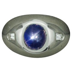 Star Sapphire and Diamond Pinky Ring in Platinum, circa 1940s