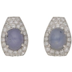 Star Sapphire and Diamond Stud Earrings