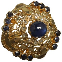 Star Sapphire Bohemian Gypsy 18 Karat Dome Ring