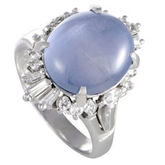 Star Sapphire Cabochon Round and Baguette Diamond Platinum Ring