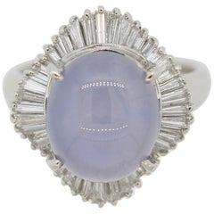 Star Sapphire Diamond Platinum Ballerina-Style Ring