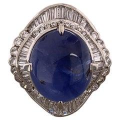 Star Sapphire Diamond Platinum Cocktail Ring, GIA Certified