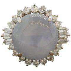 Star Sapphire Diamond Platinum Ring
