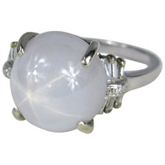 Star Sapphire Diamond Platinum Ring, Light Blue