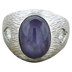 Star Sapphire Diamond Textured Gold Men's Ring