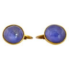 Star Sapphire Gold Cuff Links