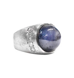 14 Karat Star Sapphire Gypsy Setting Diamond Ring