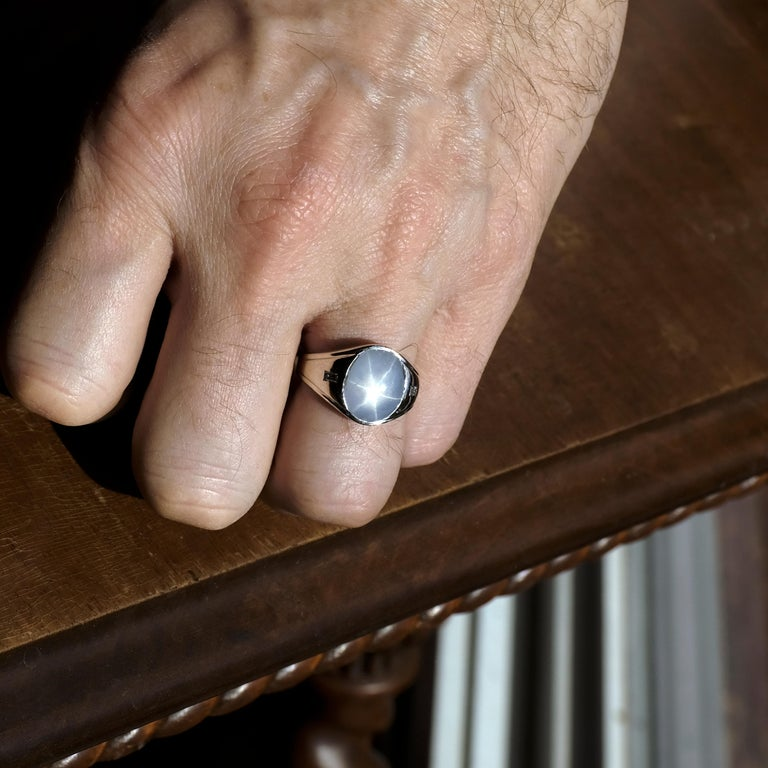 Star Sapphire Ring with Diamonds Midcentury For Sale 12
