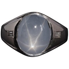Star Sapphire Men's Ring in White Gold