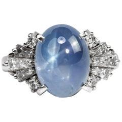 Star Sapphire Ring with Diamonds in Platinum Midcentury