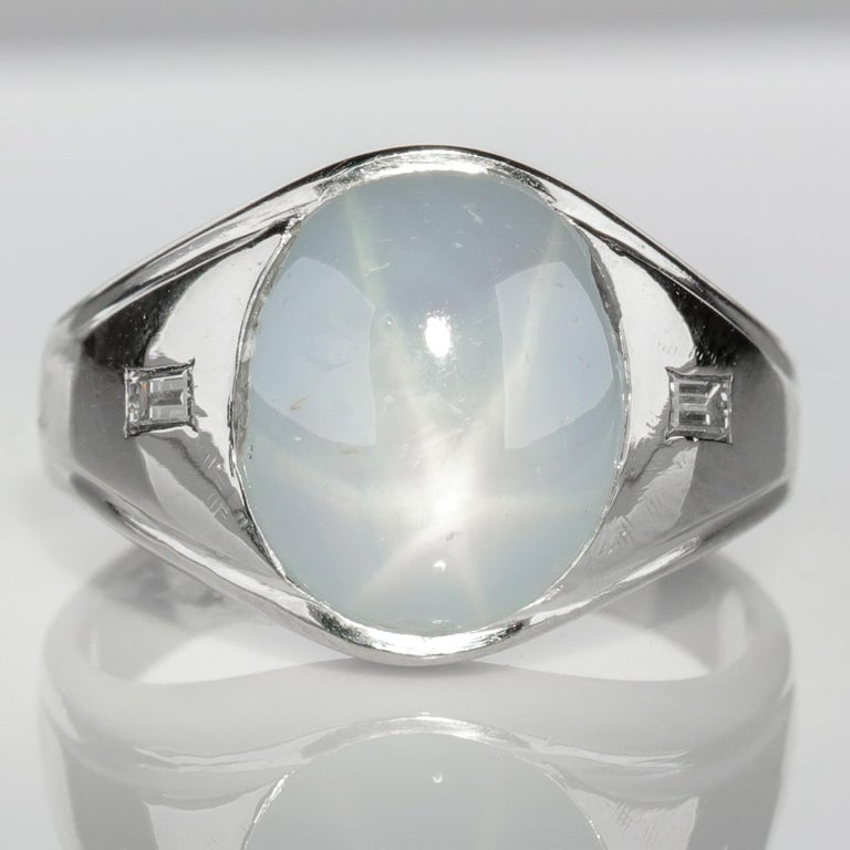 Star Sapphire Ring with Diamonds Midcentury For Sale 6