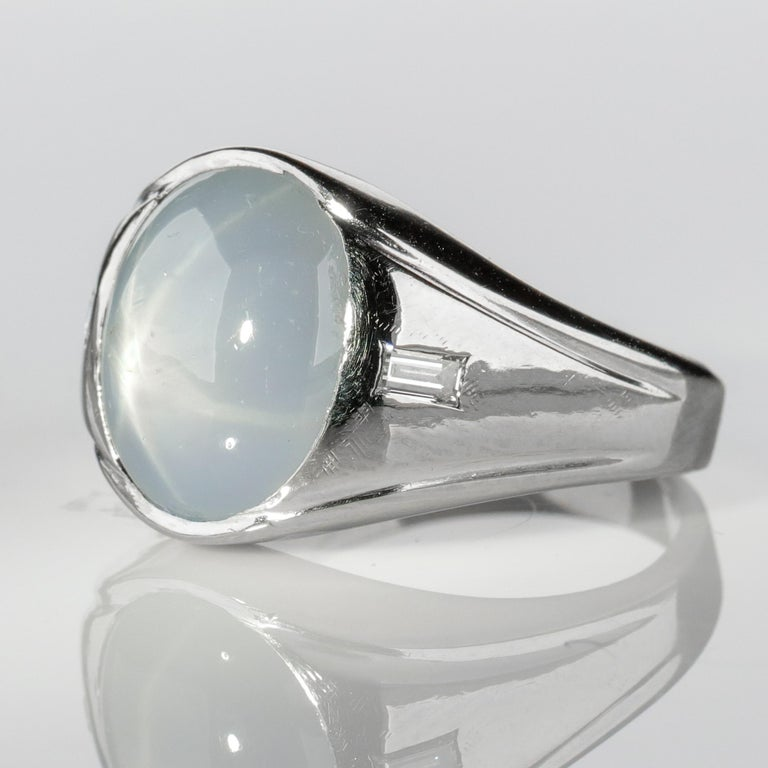 Star Sapphire Ring with Diamonds Midcentury For Sale 7