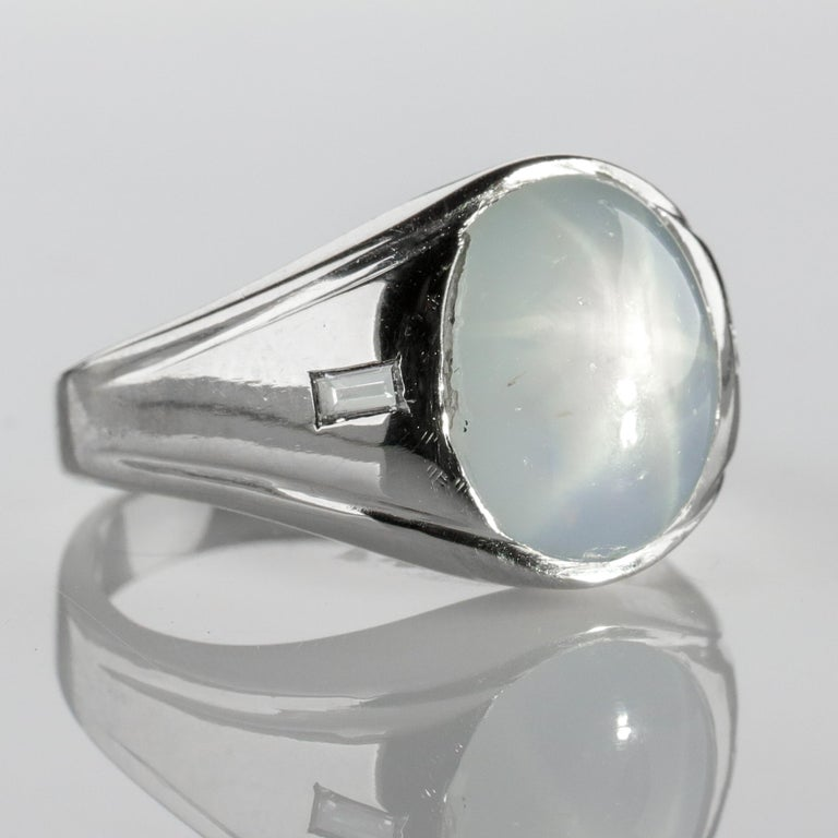 Star Sapphire Ring with Diamonds Midcentury For Sale 8