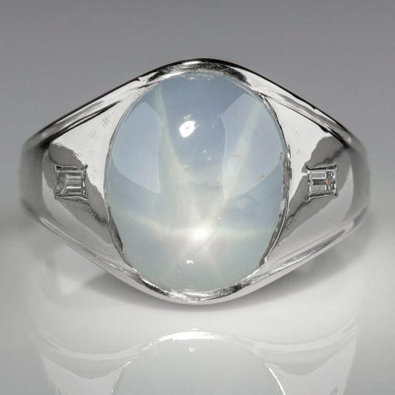 Modern Star Sapphire Ring with Diamonds Midcentury For Sale
